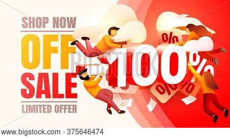 Shop Now Off Sale, 100 Interest Discount, Limited Offer. Vector