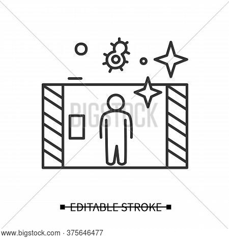 Disinfection Tunnel Icon. Person Walk In Antibacterial Solution Filled Tunnel Line Pictogram. Corona