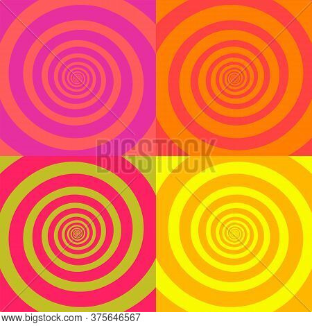 Set Of Psychedelic Spirals In Retro Comic Style. Pattern From Colorfull Spirals On Bright Square Bac