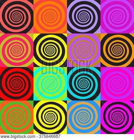Set Of Psychedelic Spirals In Comic Style. Seamless Pattern From Colorfull Spirals On Bright Square