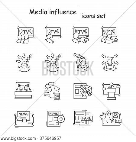 Media Influence Icons Set. Tv Press And Newspaper Information Impact On Public Opinion Linear Pictog