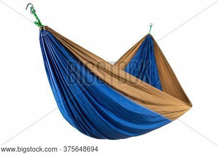 Blue Silk Hammock Stretched On The Ropes, Durable And Compact Hammock For Camping, On A White Backgr