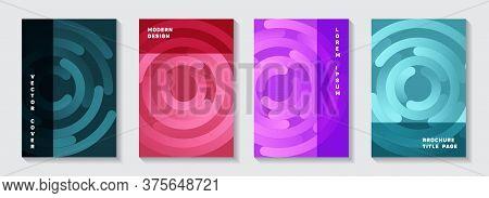 Editable Catalogue Title Pages Templates. Minimal Poster Circle Elements Movement Vector Backdrops.