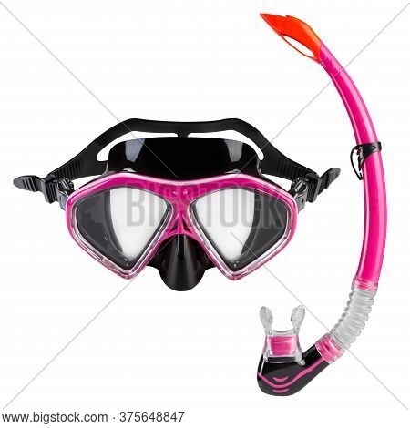 Set For Diving, Mask And Snorkel, Equipment For Snorkeling, On A White Background