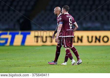 Torino (italy) , 08th July 2020. Italian Serie A. Simone Zaza And Andrea Belotti Of Torino Fc    Dur
