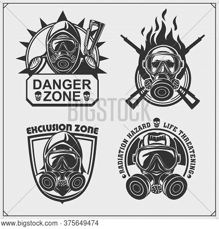 Radiation Hazard Emblems. Danger Symbols, Gas Masks.