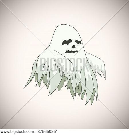White Ghost Cartoon Character Happy Halloween