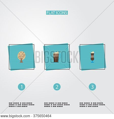 Set Of Coffee Icons Flat Style Symbols With Mocha, Tree, Latte And Other Icons For Your Web Mobile A