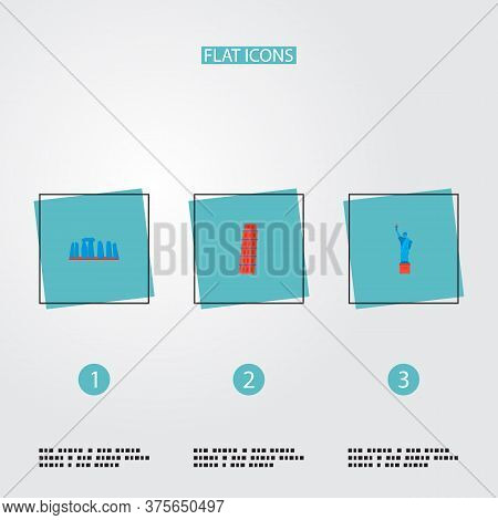 Set Of Famous Icons Flat Style Symbols With Stonehenge, Statue Of Liberty, Leaning Tower And Other I