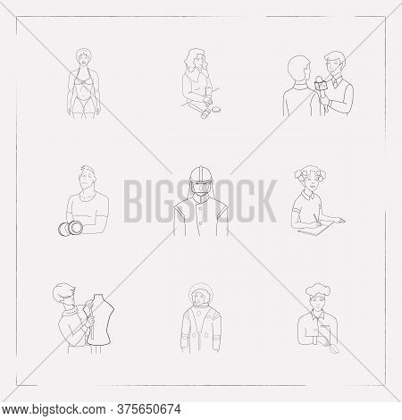 Set Of Occupation Icons Line Style Symbols With Cosmonaut, Bodybuilder, Fashion Designer And Other I
