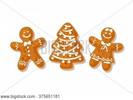 Gingerbreade Man, Woman And Christmas Tree. Traditional Homemade Sugar Coated Cookies Isolated