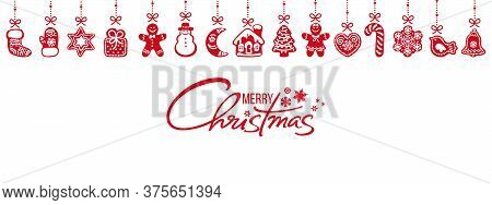 Gingerbread Cookies Hanging On Red Ribbons And Merry Christmas Handwritten Text Isolated On White Ba