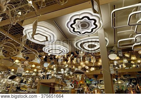 Moscow, Russia - August 17, 2019: Ceiling Chandeliers And Lamps In A Building Materials Hypermarket