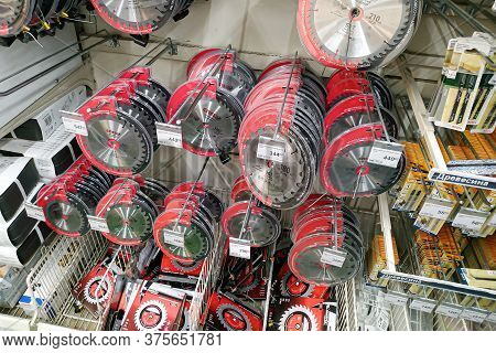 Moscow, Russia - August 17, 2019: Saw Blades For Circular Saws On The Stand In A Building Materials
