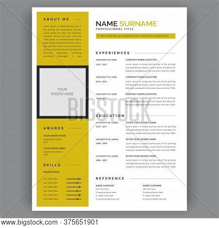 Resume Template / Cv Vector. Clear And Modern Professional Resume Cv Template Layout. Yellow And Whi