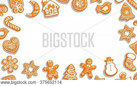 Christmas Background. Cute Gingerbread Cookies On White Background With Copy Space. Vector Illustrat