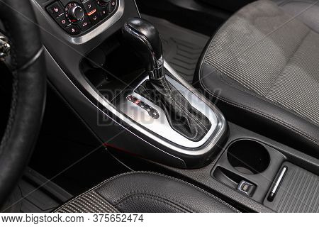 Novosibirsk/ Russia - June 30 2020: Opel Astra, Close Up Of The Manual Gearbox Transmission Handle.