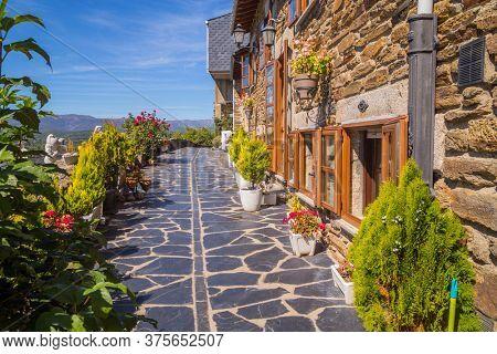 PUEBLA DE SANABRIA, SPAIN - September 28, 2019: Old houses of Puebla de Sanabria, Castilla y Leon, Spain