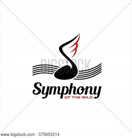 Music Logo Black Note With Eagle Wing Symphony Simple Modern And Fun Design Template Idea