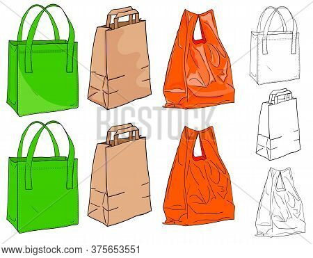 Bags For Shopping. A Textile Bag, A Paper Bag And A Plastic Bag To Choose From In Color And Black An