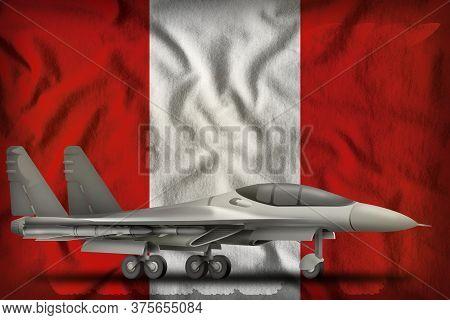 Fighter, Interceptor On The Peru Flag Background. 3d Illustration