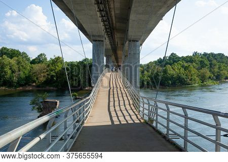 Richmond, Virginia - August 8, 2019: A View Of The Manchester Overpass And The James River In Richmo