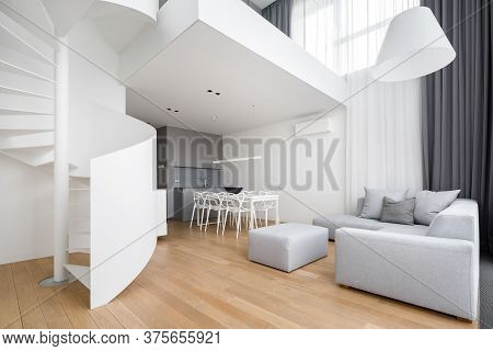 Contemporary Apartment With Spiral Staircase