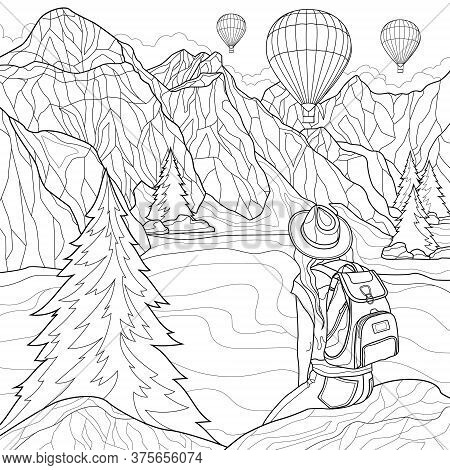 Beautiful Landscape. A Girl Sits On A Stone And Looks At The Mountains, The Lake And Balloons.colori