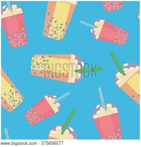 Seamless Pattern Background With Cool Cocktails In Cute Designed Cup On Blue Background