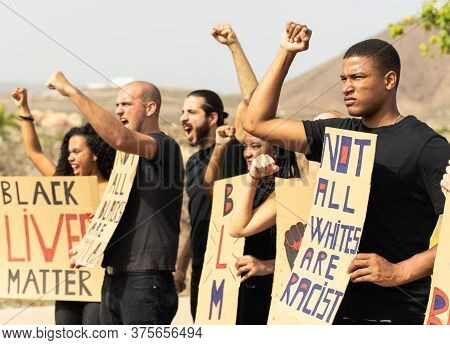 Black Lives Matter Activist Movement Protesting Against Racism And Fighting For Equality. Demonstrat