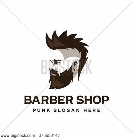 Barber Shop Symbol. Man With A Beard From The Side View. Punk. Vector Illustration