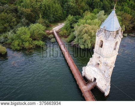 Aerial View Of The Fish Cathedral. Sunken Church Ruins Located In The Ebro Reservoir In Cantabria, I