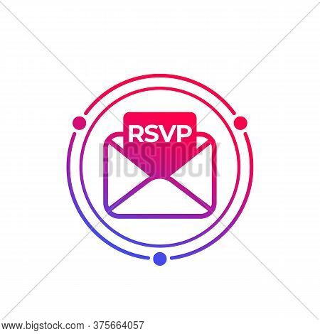 Rsvp Icon With Envelope, Vector, Eps 10 File, Easy To Edit