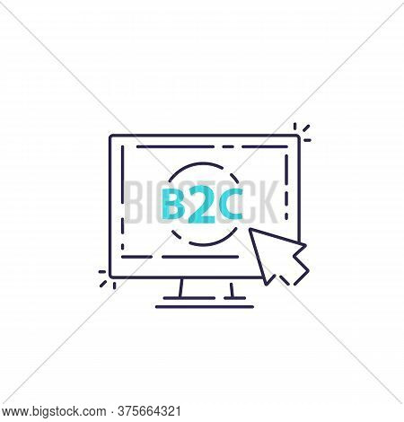 B2c, Business To Consumer Concept, Line Vector, Eps 10 File, Easy To Edit