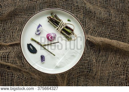 Wooden Sticks, White Feather Of A Bird And Semiprecious Stones And Minerals. Fortune Telling, Magic