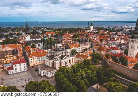 Tallinn Is A Medieval City In Estonia In The Baltics. Aerial View Of The Old Town Of Tallinn With Or