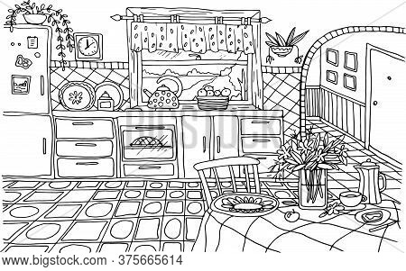 Coloring Vector Hand Drawn Interior Dining Room Table With Tablecloth Vase With Flowers Kitchen Wind