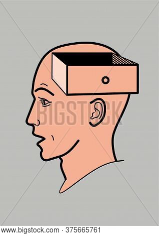 Human Head. The Brain Of A Man With An Open Box. Abstract Shape Of A Human Head With A Box. Profile