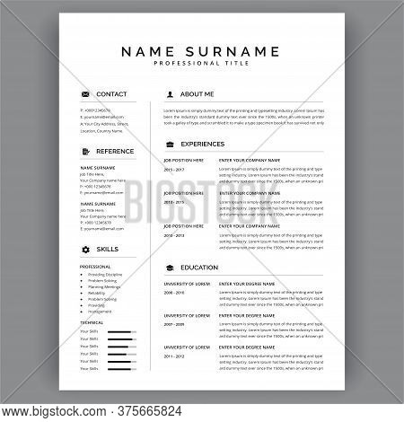 Resume / Cv Vector Template. Business Layout Vector For Job Applications. Curriculum Vitae.