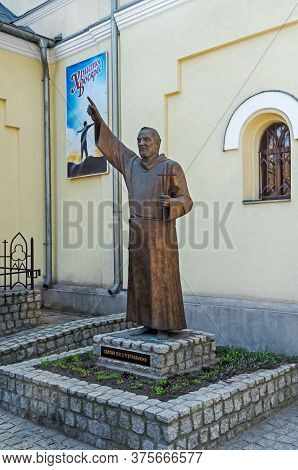 Dnipro, Ukraine - April 08, 2020: Monument To Saint Pio From Pietrelcina (padre Pio) Near The Roman