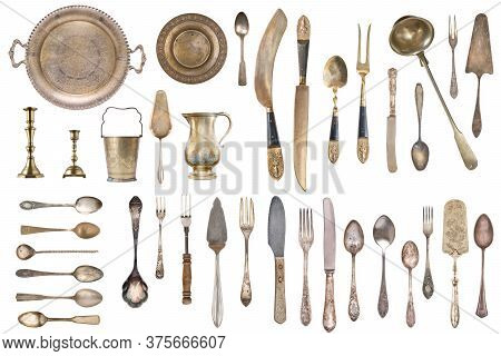 Vintage Silverware, Antique Spoons, Forks, Knives, Ladle, Cake Shovels Isolated On Isolated White Ba