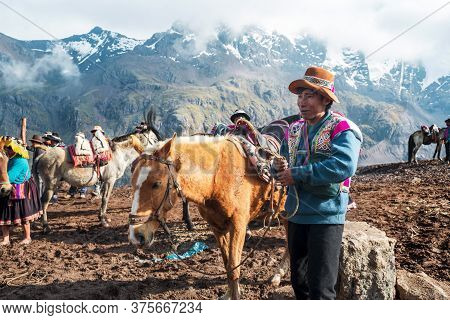 Vinicunca, Peru- October 29: Mountain Guide In Traditional Wear Holds Red Mule At High Altitude Grou