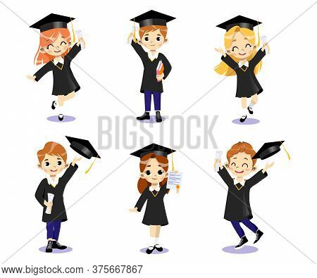 End Of University Courses And Graduation Concept. Set Of Happy Smiling Students Boys And Girls In Ac