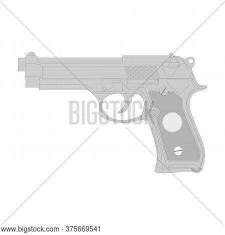 Gun Vector Illustration, Isolation On A White Background.