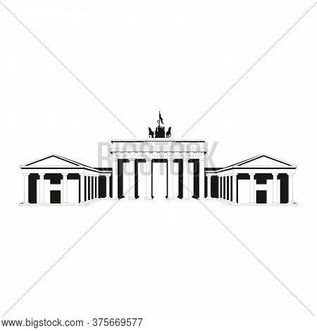 Brandenburg Gate. Outline Brandenburg Gate Vector For Web Design Isolated On White Background