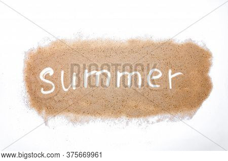Word Summer On Sand Isolated On White Background. Top View. Flat Lay