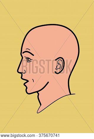 Human Head - Vector Illustration, Linear Design. Profile Man.  Emotions Surprise, Perplexity, Questi