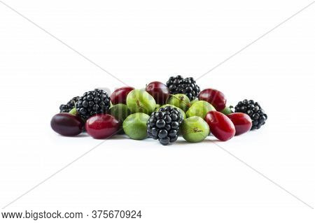 Mix Berries Isolated On White Background. Actinidia And Blackberries With Copy Space For Text. Berry