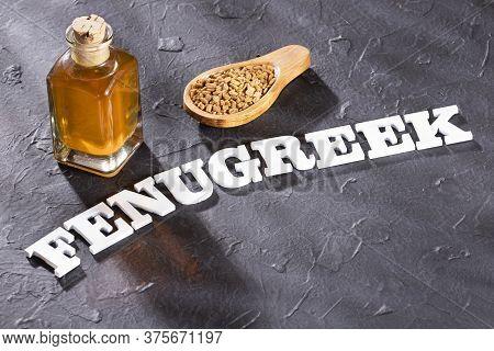 Fenugreek Seeds And Oil - Trigonella Foenum - Graecum. Text Space