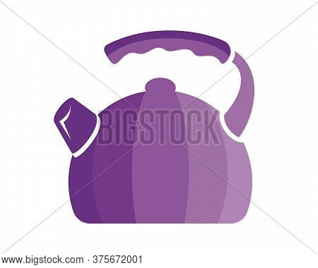 Teapot Steel Vector Icon Flat Style. Violet Kettle On Isolated Background. Warm Comfort In Your Home